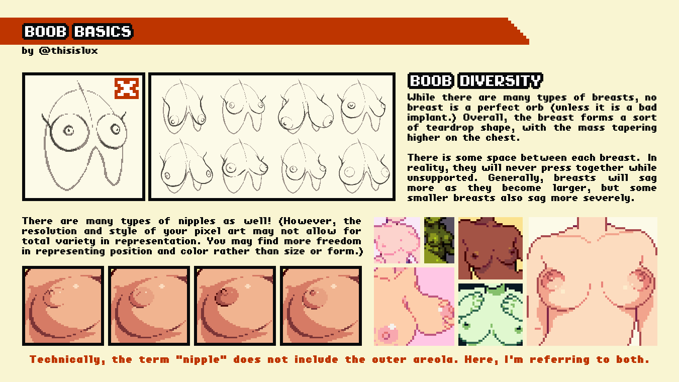 """Boob Diversity: While there are many types of breasts, no breast is a perfect orb (unless it is a bad implant.) Overall, the breast forms a sort of teardrop shape, with the mass tapering higher on the chest.   There is some space between each breast.  In reality, they will never press together while unsupported. Generally, breasts will sag more as they become larger, but some smaller breasts also sag more severely.   There are many types of nipples as well! (However, the resolution and style of your pixel art may not allow for total variety in representation. You may find more freedom in representing position and color rather than size or form.)   Technically, the term """"nipple"""" does not include the outer areola. Here, I'm referring to both."""